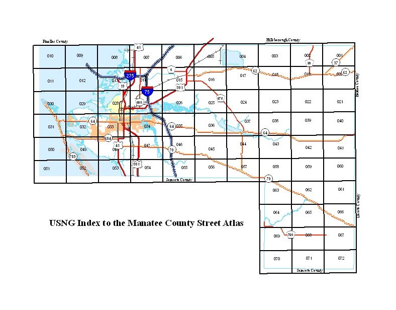 USNG Street Atlas Manatee County - Us national grid index map